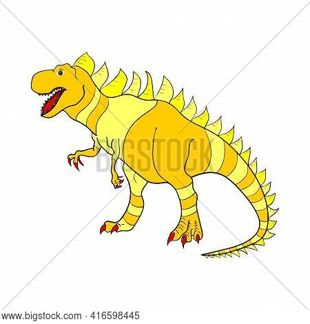 Pattern With Dinosaurs. Colored Lizard-like Dinosaurs For Packaging Or Clothing. Saurischian Dinosau