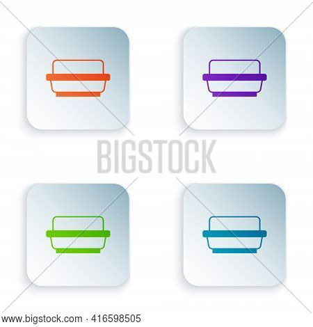 Color Butter In A Butter Dish Icon Isolated On White Background. Butter Brick On Plate. Milk Based P