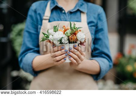 Customer Order Online, Work Of Flowers Seller And Florist, Spring Season In Small Business