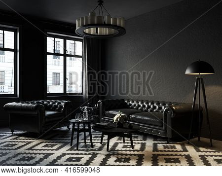 Black Interior With Chester Sofa And Armchair, Carpet, Coffee Table And Decor. 3d Render Illustratio