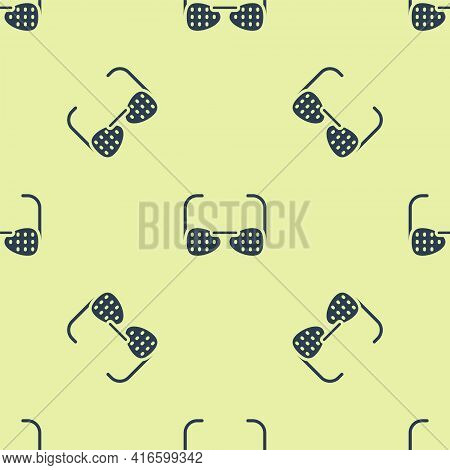 Blue Glasses For The Blind And Visually Impaired Icon Isolated Seamless Pattern On Yellow Background