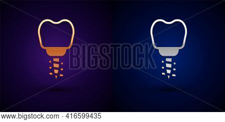 Gold And Silver Dental Implant Icon Isolated On Black Background. Vector