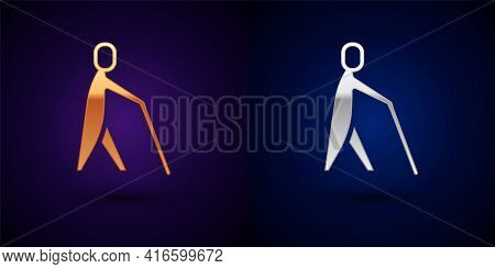 Gold And Silver Blind Human Holding Stick Icon Isolated On Black Background. Disabled Human With Bli