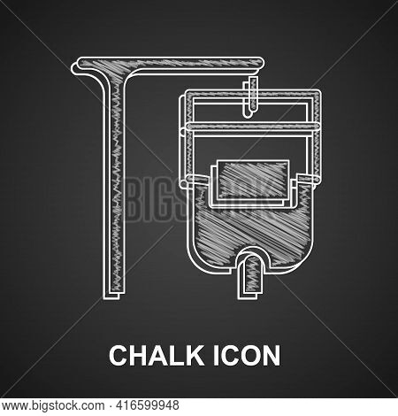 Chalk Iv Bag Icon Isolated On Black Background. Blood Bag. Donate Blood Concept. The Concept Of Trea