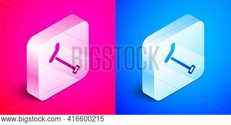 Isometric Walking Stick Cane Icon Isolated On Pink And Blue Background. Silver Square Button. Vector
