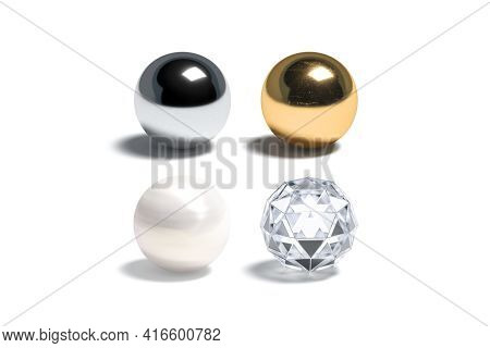 Blank Gloss Silver, Gold, Pearl And Diamond Ball Mockup Set, 3d Rendering. Empty Round Jewellery Sur