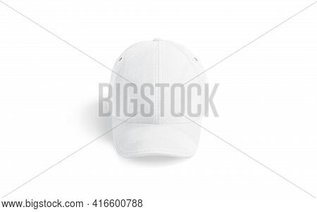 Blank White Baseball Cap Mockup, Front View, 3d Rendering. Empty Denim Headgear For Sport Team Mock