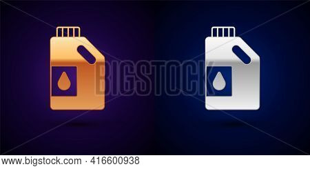 Gold And Silver Canister For Motor Machine Oil Icon Isolated On Black Background. Oil Gallon. Oil Ch