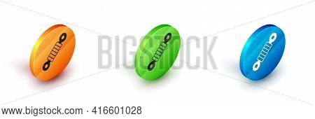 Isometric Shock Absorber Icon Isolated On White Background. Circle Button. Vector