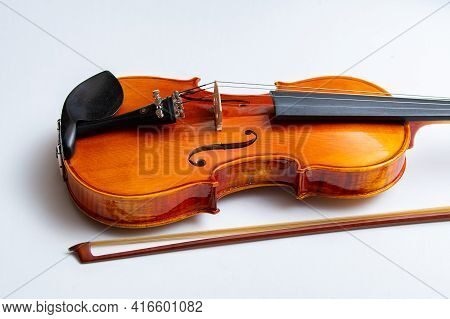 Violin On A White Background Music Wooden