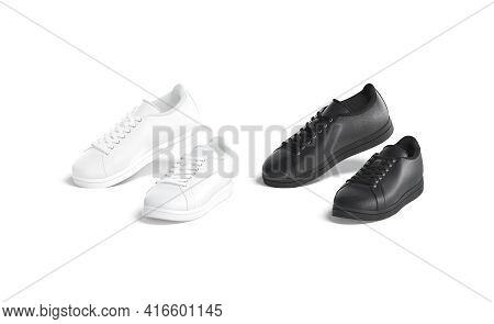 Blank Black And White Leather Sneakers On Tiptoe Mockup, Isolated, 3d Rendering. Empty Footwear With