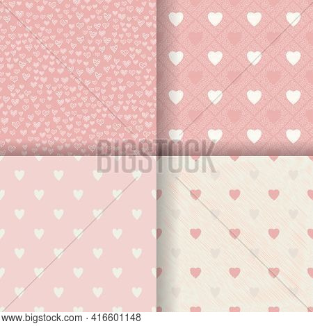 Pink Heart Seamless Pattern Background. Vector Illustration For Holiday