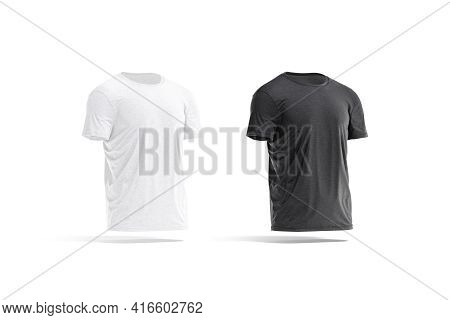 Blank Black And White Wrinkled T-shirt Mockup Set, Side View, 3d Rendering. Empty Basic Man Apparel