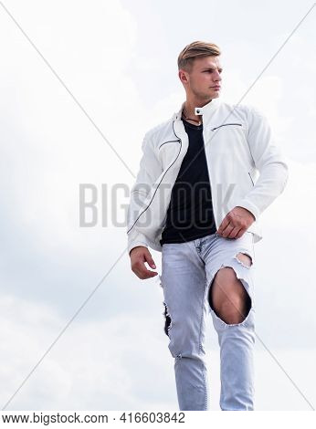 Single Young Guy In Casual Fashion Wear Travel Idyllic Cloudy Sky Outdoors, Freedom