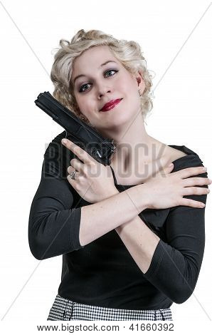 Woman Hugging Gun