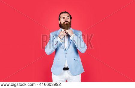 Well Groomed Man In Wedding Formalwear Has Beard, Beauty