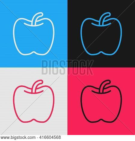 Pop Art Line Apple Icon Isolated On Color Background. Excess Weight. Healthy Diet Menu. Fitness Diet