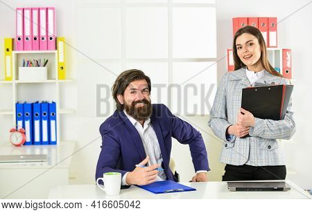 Consulting. Startup Team. Business Report. Successful Business. Man And Woman Office. Boss Manager D