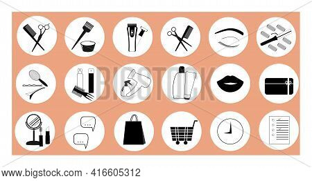 A Set Of Hair Care Icons. A Collection Of Images For Beauty. For Page Design, Cosmetics, For Hairdre