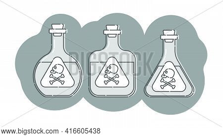 Three Bottle Of Poison With Skull In Profile On Shape Background. Dangerous Container. Potion Bevera