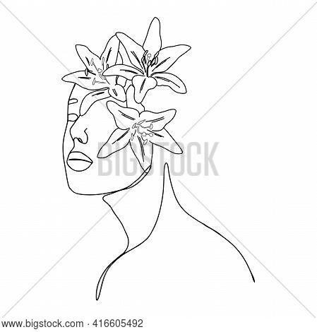 One Line Woman And Lily Flowers Fashion Portrait. Minimal Design, Freehand Composition, Modern Abstr