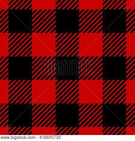 Masculine Check Pattern. Red Black Lumberjacks Plaid Texture, Fashion Tartan Jacket Seamless Backgro