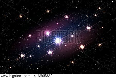 Bright Cosmos Space Backdrop. Sparkled Sky Infinity Wallpaper, Night Stars Galaxy On Blue And Black