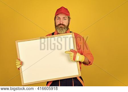 Architect Worker Hold Flip Chart. Conference Meeting. Person Presenting At A Flip-chart. Businessman