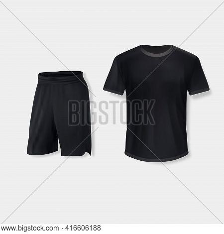 Shirt Mockup Set. T-shirt Template With Shorts. Black, Gray Version, Front Design