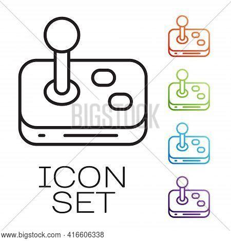 Black Line Joystick For Arcade Machine Icon Isolated On White Background. Joystick Gamepad. Set Icon