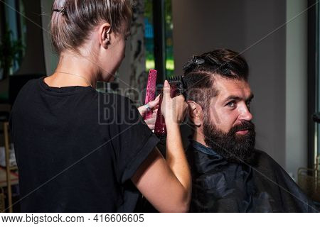 Barber Master Cut Hair. Mature Hipster With Beard At Hairdresser. Brutal Hipster Making New Hairstyl