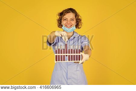Laboratory Researcher. Woman Wears Protective Mask. Making Lab Experiment. Test Your Blood. Scientis