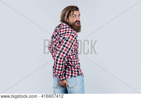 Caucasian Mature Hipster With Trendy Hairstyle In Checkered Shirt Having Hemorrhoids, Male Problems