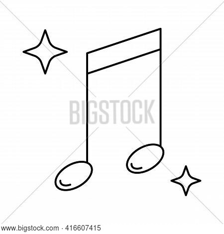 Music Note Outline Vector Icon Isolated On White Background. Linear Symbol For Karaoke.