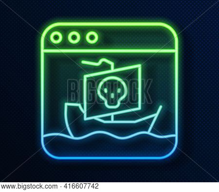 Glowing Neon Line Internet Piracy Icon Isolated On Blue Background. Online Piracy. Cyberspace Crime