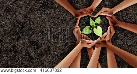 Earth Day Love And Agriculture Support Or Ecology Unity As Heart Hands In A Group Of People Connecte