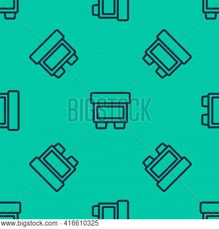 Blue Line Fuse Of Electrical Protection Component Icon Isolated Seamless Pattern On Green Background