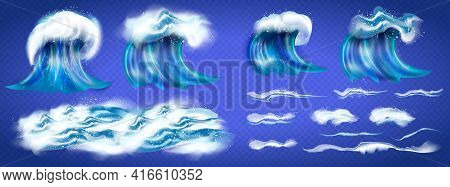 Wave Symbols Set For Design Isolated On Blue Background, Such Emblem Or Logo Template. Sea And Waves