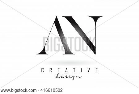 An A N Letter Design Logo Logotype Concept With Serif Font And Elegant Style. Vector Illustration Ic