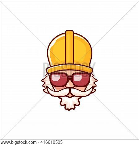 Worker With Orange Helmet And Beard Isolated On White Background. 1 May Labor Day Icon Or Sign With