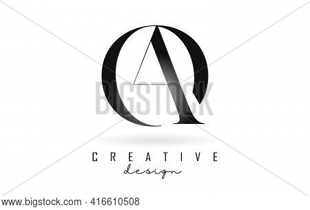 Ao A O Letter Design Logo Logotype Concept With Serif Font And Elegant Style. Vector Illustration Ic