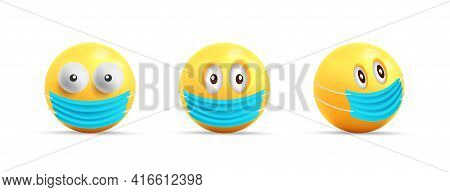 Set Of Yellow Faces, 3d Spheres With Face Mask, Coronovirus Smiley Faces With Only Eyes