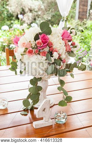 Banquet Decorated Table, With Cutlery. Wedding Decor In The Banquet Hall.