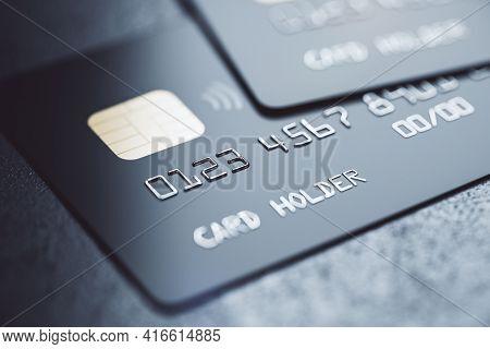 Bank System Concept With Black Debit Cards On Dark Background, 3d Rendering