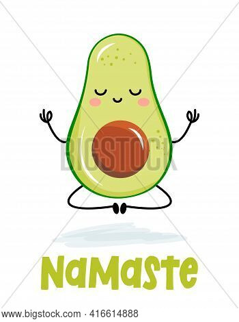 Namaste kawaii avocado character design in lotus youga pose. Good for posters, flyers, t-shirts, cards, invitations, stickers, banners, gifts. Funny vector cartoon fruit character on a background.