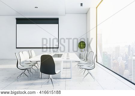 Blank White Training Board On Light Wall In Stylish Conference Room With Skyscrapers View From Glass
