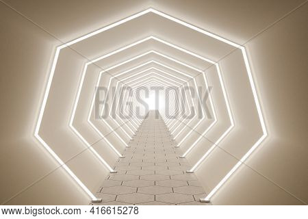 Long Beige Tunnel With Many Fluorescent Lamps And Light In The End, Bright Setting, Showroom And Exh