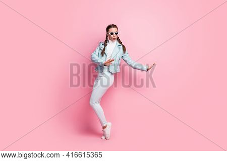 Full Size Photo Of Young Excited Girl Happy Excited Have Fun Wear Sunglass Isolated Over Pastel Colo