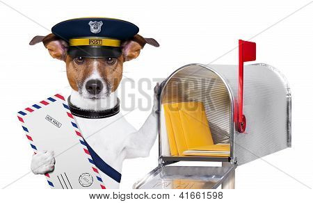 postman mail dog with a air mail letter and mail box poster