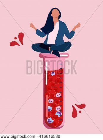 World Hemophilia Day Concept.woman Meditates On Laboratory Beaker Or Tube With Blood Full Off Cells.